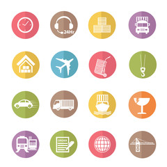 Logistic and transport icons,colors vector