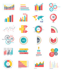 24 icons Infographics Data analysis on white background,vector