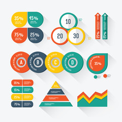 Set elements of info graphics on white background