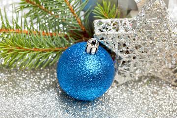 Christmas fir and decoration