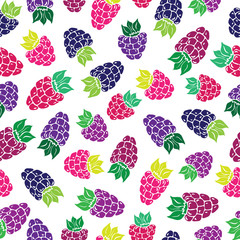 Decorative pattern with wild and garden berries Seamless
