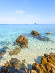 Beach rock with clean water at Pulau Perhentian, Malaysia