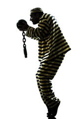 man prisoner criminal with chain ball silhouette
