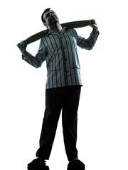 man pajamas waking up stretching silhouettes