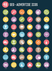SEO and Advertise flat icons,colour vector