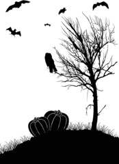 halloween landscape with tree and bats