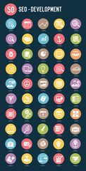 SEO Internet marketing flat icons,color vector
