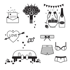 wedding and love icon set.