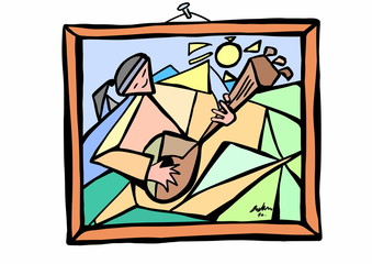 doodle style cubist painting on wall