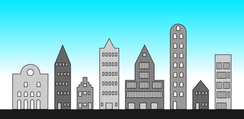 Vooraanzicht technische tekening stadsgezicht