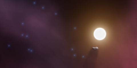 Lonely asteroid surrounded with cosmic dust