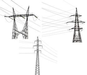 set of three electrical pylons isolated on white