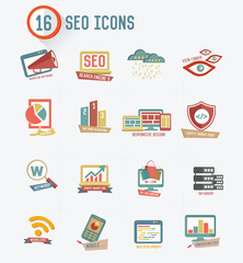 SEO Searching engine optimization icons