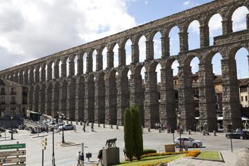 Partial view of roman aqueduct in Segovia Spain