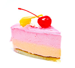 Piece of cream cake with cherry on top isolated