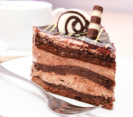 Piece of chocolate cake on a plate