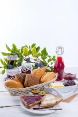 breakfast with plum jam