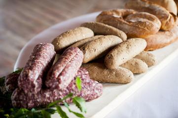 Italian salami with bread