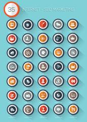 Internet SEO and marketing icon set on white background