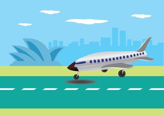 Airplane Landing in Australian Airport Vector Illustration