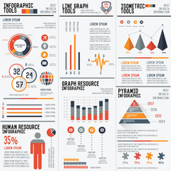 Big 3 column infographic elements vector set for your projects