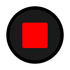 red black stop icon vector