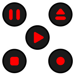 red black play icon set vector