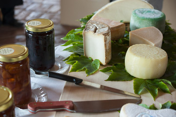 Cheese on the table with jam