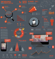 SEO elements Infographic design on dark background