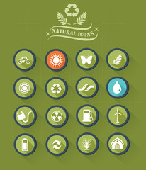 Nature buttons on green button,vector