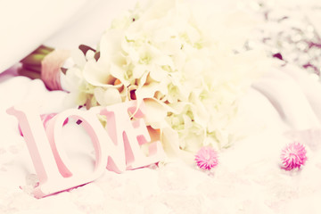 love word as wedding decoration detail
