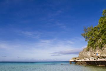 tropical seascape with blue sky