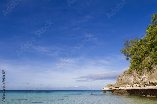 Leinwanddruck Bild tropical seascape with blue sky