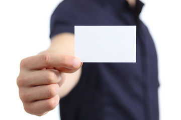 Business man hand holding a blank card