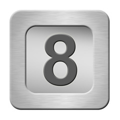 button with number isolated on white background