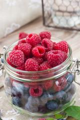 glass bowl of fresh  berries