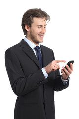 Businessman using and looking the smart phone