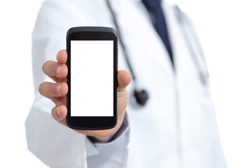 Doctor hand showing a blank smart phone screen app