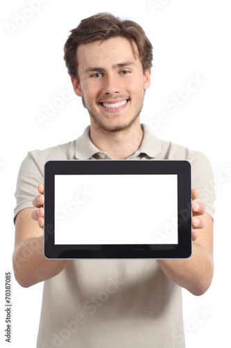 Happy man holding and showing a blank horizontal tablet screen - 70387085