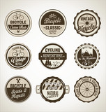 Bicycle retro brown badge collection