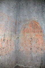 The drawings on the walls of the Gegard chuch monastery