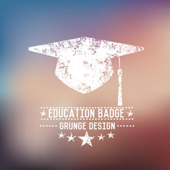 Hat education badge on blur background,vector