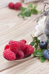spoon of fresh raspberries
