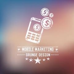 Mobile marketing badge on blur background
