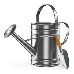 3D watering can and spade
