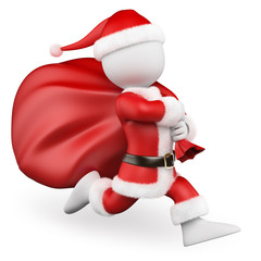 3D white people. Santa Claus running with big bag full of gifts