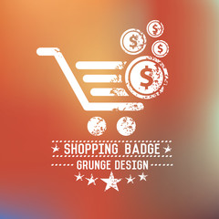 Shopping badge on blur background,vector