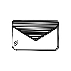 Vector of sketch doodle, envelope icon on isolated background