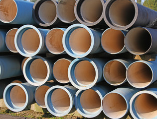 blue tubes for waterworks and sewer system of the city