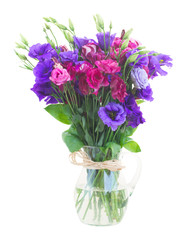 bouquet  of  violet and mauve eustoma flowers